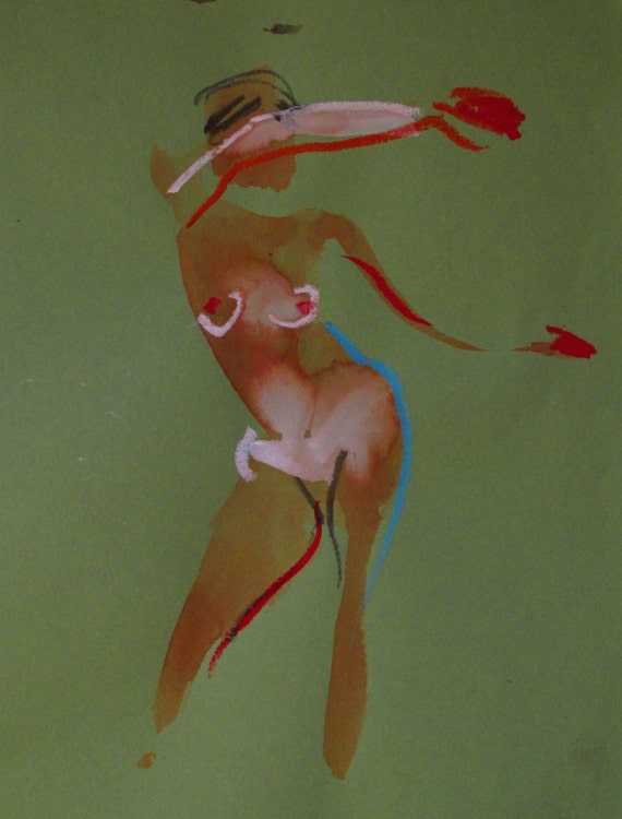 Nude painting of One minute pose 99.2 Original nude painting by Gretchen Kelly