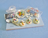 Dollhouse Miniature melting snowmen cookies Preparation Board