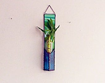 Lucky Bamboo. Three Stalks Panel, Teal Lime Green, Tie Dyed, Stained Glass, Retro Glass Art