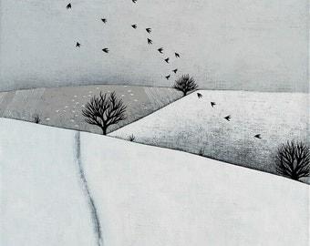 Snowy Landscape with Sheep and Birds - Archival 8x8 Print - Winter Landscape Painting - Minimalist Art - by Natasha Newton