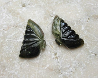 Olive Green Tourmaline Beads Hand Carved Butterfly Wings 21 x 10.25mm - Matched Gemstone Pair