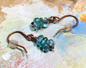 Blue Green Apatite Dangle Earrings: Healing Crystal Gemstone Nuggets Wire-Wrapped, Nickel Free Hypoallergenic Copper or Silver DoodlepunkArt