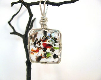 Sterling Silver Wire Wrapped Dichroic Glass Pendant RKS522