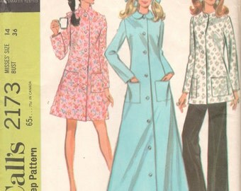 McCalls 2173 1960s Misses Robe in Three Lengths and Pants Pattern Easy Womens Vintage Sewing Pattern Size 14 Bust 36 OR Size 12 Bust 34