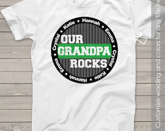 Grandpa or papa shirt - our grandpa (or papa) rocks personalized with multiple grandkid names t-shirt  MDF1-040