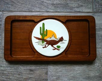 Vintage Teak Tray, Goodwood Thailand Teak Wood Serving Tray with Ceramic Southwestern or Western Desert Roadrunner Tile, Missing Glass Lid