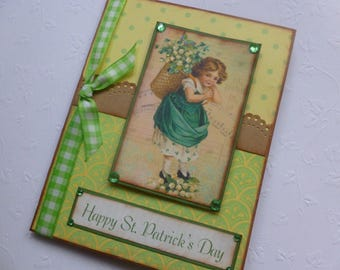St. Patrick's Day card vintage style green yellow Happy St. Patrick's Day