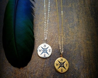 Compass necklace, Follow your star, true north, graduation gift for her, nautical star, charm necklace, layering, otis b jewelry etsy