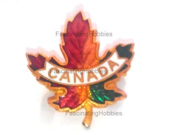 Vintage CANADA Pin Brooch - MAPLE LEAF - Golden metal - red white green enamel- Back plain golden with Safety Hook- free shipping worldwide