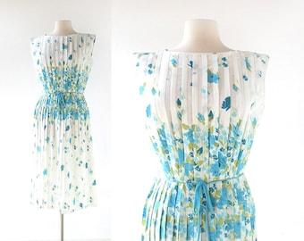 Vintage 1950s Dress | Fleurs de Printemps | Floral Print Dress | 50s Floral Dress | Small S