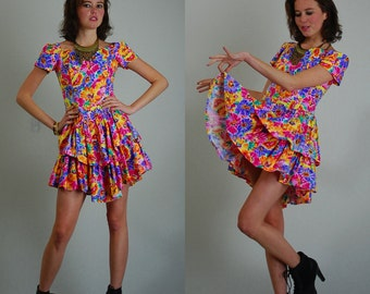 80s Mini Dress Vintage 80s Colorful and Bright Floral Drop Waist Tiered Indie Boho Mini Dress (s)