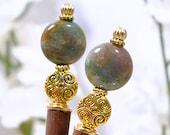 """SALE - Celtic Hair Pins Green Gold Hair Sticks Viking Hair Pin Pair of Hair Sticks Celtic Accessory - """"Ataraxia"""""""