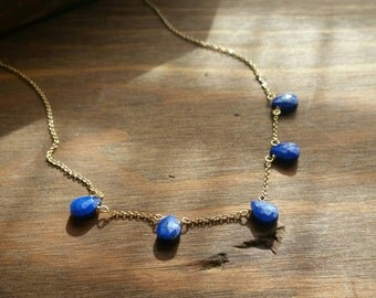 Lapis Lazuli Mini Drops Station Necklace, 14k Goldfilled Short Delicate Navy Cobalt Blue Gemstone Jewelry