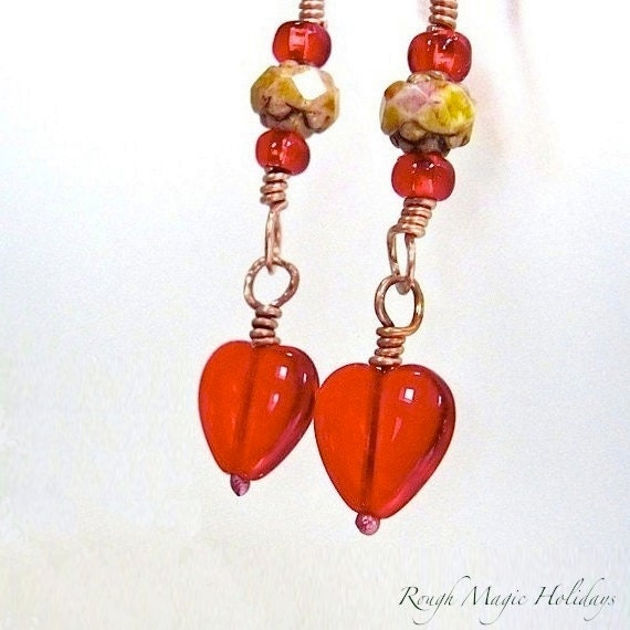 Red Hearts and Flowers Earrings, Valentine Jewelry for Women, Romantic Gift for Her, Long Boho Earrings, Czech Glass Roses, Copper Earrings