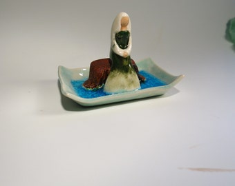 Lady Sitting on a Bench on a Frozen Pond Whimsical and Magical Art Handmade Ceramic Sculpture Miniature Figurine