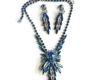 JULIANA Filigree and Blue Rhinestones Necklace and Dangle Earrings Vintage Verified D&E Demi Set