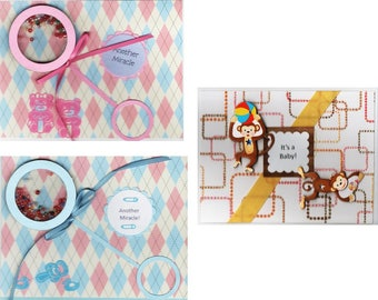 Baby Cards - 2 variations-2 Shaker Cards for Boys and Girls -- Warm Wishes Card-Free shipping in USA