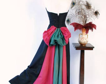 Vintage 1950s Gown - Bold Color Block Early 50s Strapless Dress with Two Tone Fuchsia and Emerald Green Bustle Drape