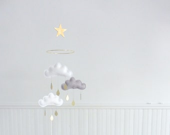 "Bestseller :Mobile ""Milan"" White,Grey,White cloud mobile for nursery with gold star by The Butter Flying-Cloud Mobile"