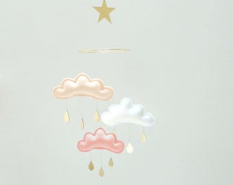 "Bestseller : Peach, white and coral clouds and Star mobile for nursery ""CLAIRE"" with gold star by The Butter Flying-Rain Cloud Mobile"