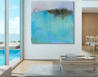 Ready to Hang Minimalist Abstract Landscape Canvas Print, Large Turquoise Seascape, Coastal Decor, Beach Cottage Decor, Coastal Wall Art