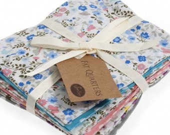 Fat Quarter Bundle, Ditsy Butterfly Cotton Fabrics, 6 Butterfly and Polka Dot Fat Quarters, 54cm x 45cm
