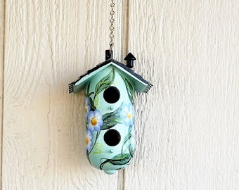 Aqua Green with Purple Flowers ,  Decorative Birdhouse , with Two Holes , Hand Painted , and a Chimney