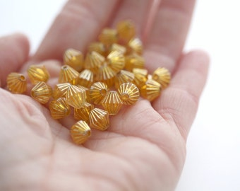 Acrylic Beads Yellow Gold Fluted Bicone Beads 8mm (30)