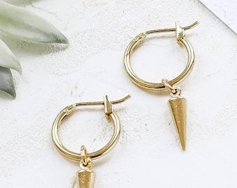 Eddie Earrings, Small Hoop Earrings, Spike Hoop Earrings, Spike Pendant Earrings, Silver Spiked Hoop Earrings, Gold Spiked Hoop Earrings