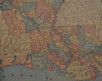 1904 State Map Louisiana - Vintage Antique Map Great for Framing 100 Years Old