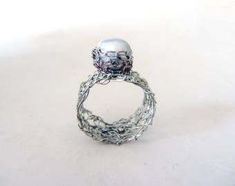 Statement crochet pearl ring-  Sterling silver statement ring - Pearl ring