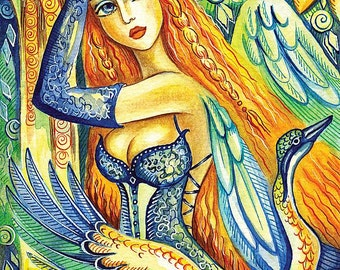 women fantasy good gift ideas for girl room wall decor affordable art gifts artart, angel art poster woman wall print 8x12+