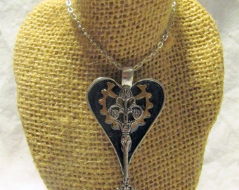 Artisan Heart Necklace Silver Spoon On a Chain Pendant Steampunk Gear Necklace Enamel Heart Pendant Resin Necklace One of a Kind