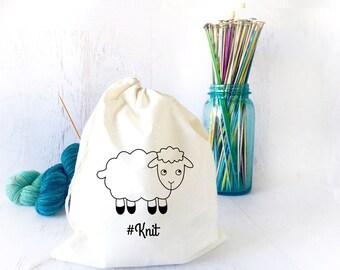 Knitting Project Bag- Craft Bag- Yarn Bowl- Funny Project Bag- Drawstring Project Bag for Knitting- Sock Knitting
