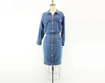 Vintage Denim Dress 1980s Jean Dress Dolman Sleeve Dress Denim Wiggle Dress 80s Vintage Dress 80s Denim Dress Vintage Blue Dress m