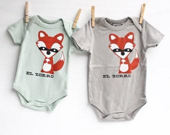Zorro the Fox -fox, spanish language, organic cotton, hand printed, bodysuit, fun baby present, cute gift, eco-friendly clothing, funny baby