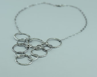 Sterling Silver Necklace Bib - Oxidized Silver Necklace - Silver Statement Necklace