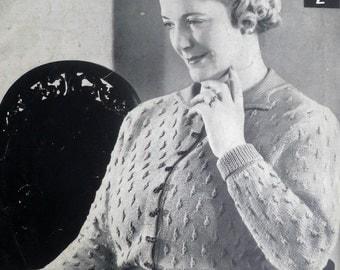 Vintage 1930s Knitting Pattern Women's Cardigan - L large plus size - 30s original pattern - Lister & Co No. 688 UK - textured stitch collar