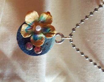 Blue Cork Pendant with mixed media metal accents and paper flower