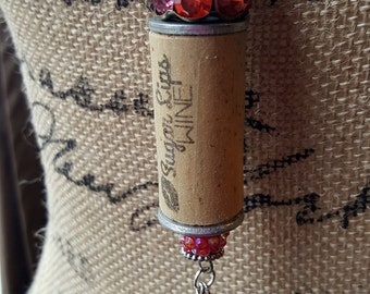 Sugar Lips Pink & Red Wine Cork Necklace--Mixed Media