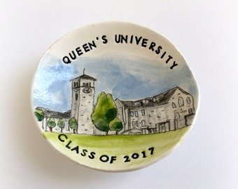 Personalized graduation gift ring holder custom university college hs ring dish handmade by Cathie Carlson