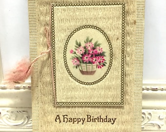 Vintage Birthday Postcard, Vintage Postcard, Paper Ephemera, Birthday Card, Basket of Pink Flowers and Birthday Greetings, Card that Opens