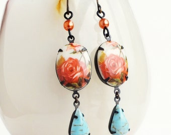 Rose Cameo Earrings Vintage Floral Earrings Coral Turquoise Aqua Victorian Rose Jewelry