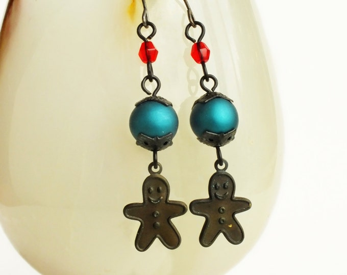 Gingerbread Earrings Antiqued Brass Gingerbread Charm Earrings Victorian Christmas Jewelry Gingerbread Vintage