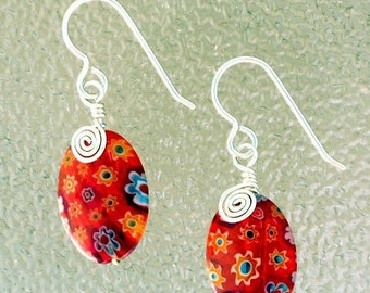 Wire Wrapped Milfiori Glass Earrings