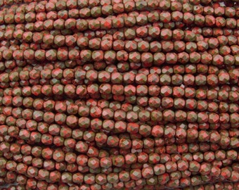 GORGEOUS 6mm Faceted Opaque Coral Picasso Czech Firepolish Glass Beads - Qty 50 (DW79)