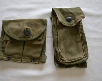 Vintage U.S. ARMY Ammo Compass pouch LOT of 2 dated 1957