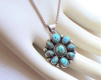 Native American Signed Sterling Turquoise Pendant Necklace - 925, Indian, Artist, Spider