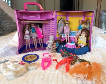 RARE LOT Vintage Topper Dawn Angie Jessica Accessories and Case - Kiddles Teresa Touring Kar - Mattel Heather - Uneeda  Pee Wee