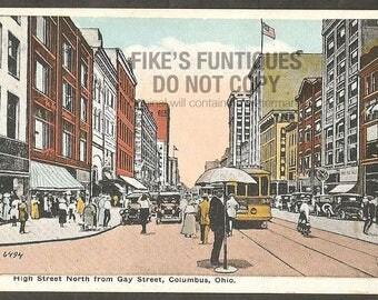 Columbus, Ohio Vintage Postcard - High Street North from Gay Street (Unused)